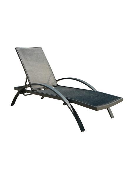 Lettino da giardino nero Eddy, Struttura: alluminio, Antracite, nero, Lung. 198 x Larg. 65 cm