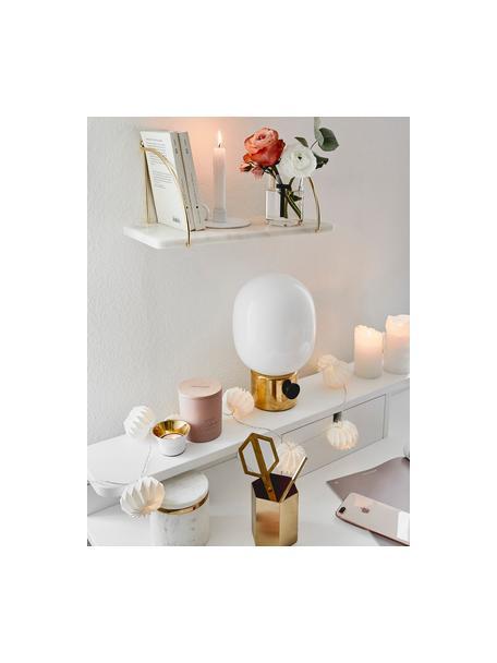 Marmeren wandplank Porter, Plank: marmer, Wandbevestiging: goudkleurig. Plank: gemarmerd wit, 40 x 18 cm