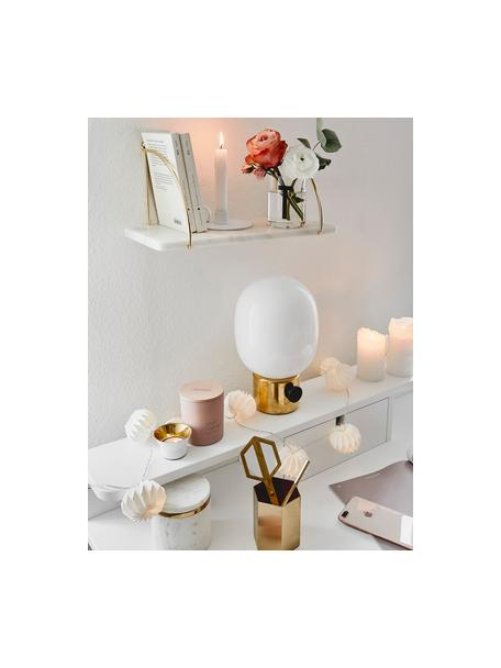 Mensola a muro in marmo Porter, Mensola: marmo, Montatura: dorato Mensola: bianco marmorizzato, Larg. 40 x Alt. 18 cm