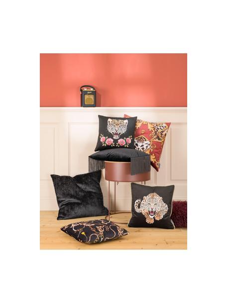 Dubbelzijdige fluwelen kussenhoes Deluxe Leo, 100% polyester fluweel, bedrukt, Zwart, bruin, wit, goudkleurig, 40 x 40 cm