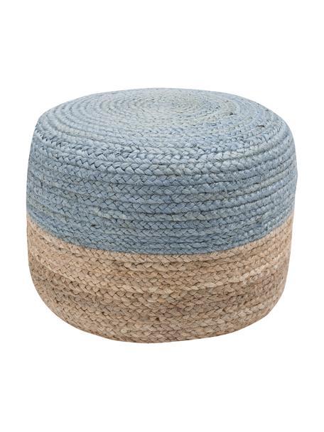 Puf artesanal de yute Bono, estilo boho, Tapizado: yute, Yute, gris azulado, Ø 50 x Al 36 cm