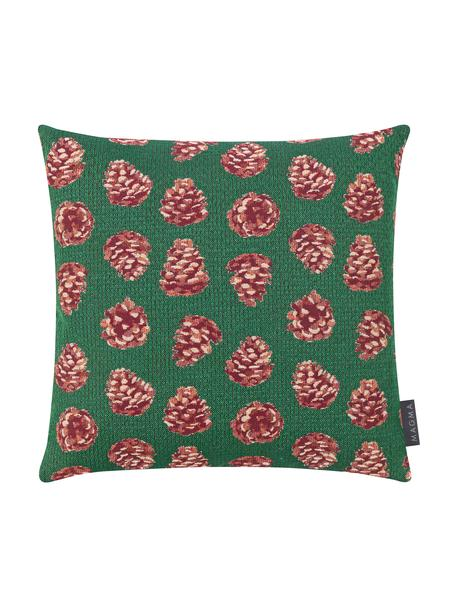 Federa arredo con motivo invernale Alvin, Retro: velluto di poliestere, Verde, rosso, beige, Larg. 40 x Lung. 40 cm