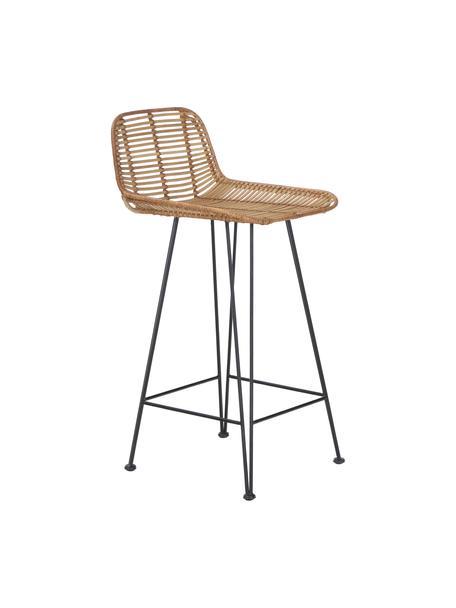 Rattan-Thekenstuhl Blind mit Metall-Beinen, Beine: Metall, pulverbeschichtet, Sitzschale: Rattan, Rattan, Schwarz, 42 x 89 cm