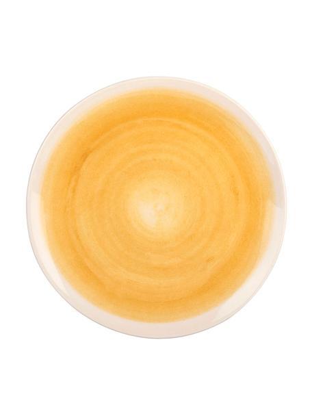 Handgemachte Speiseteller Pure matt/glänzend mit Farbverlauf, 6 Stück, Keramik, Gelb, Weiß, Ø 26 cm