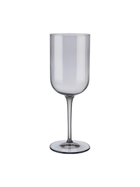 Copas de vino Fuum, 4uds., Vidrio, Gris transparente, Ø 8 x Al 22 cm