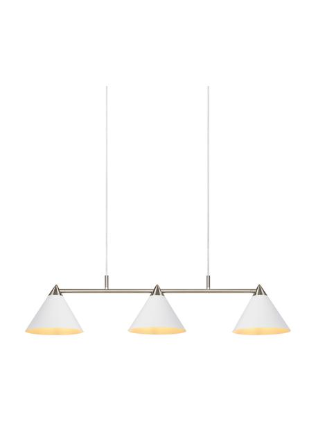 Grote hanglamp Klint, Baldakijn: gecoat metaal, Wit, zilverkleurig, 99 x 21 cm