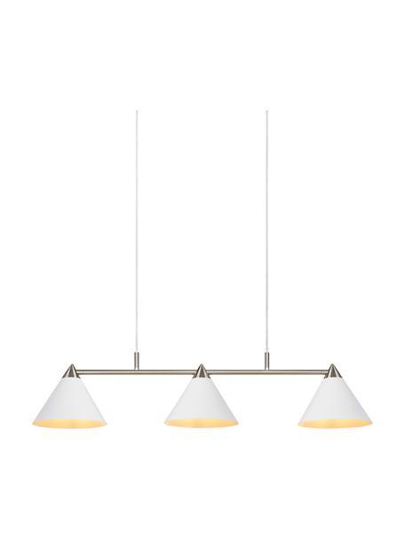 Lámpara de techo grande Klint, Estructura: metal recubierto, Anclaje: metal recubierto, Cable: cubierto en tela, Blanco, plateado, An 99 x Al 21 cm