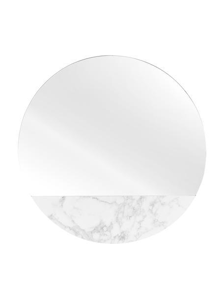 Specchio da parete effetto marmo Stockholm, Cornice: melamina, Superficie dello specchio: lastra di vetro, Retro: pannello di fibra a media, Bianco marmorizzato, Ø 40 cm