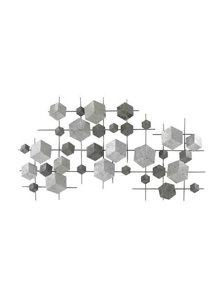 Decorazione da parete in metallo laccato Cube, Metallo verniciato, Grigio, Larg. 92 x Alt. 50 cm