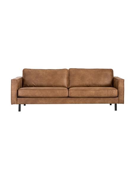 Sofa skórzana z recyklingu Hunter (3-osobowa), Tapicerka: skóra z recyklingu (70% s, Nogi: tworzywo sztuczne, Brązowy, S 219 x G 90 cm