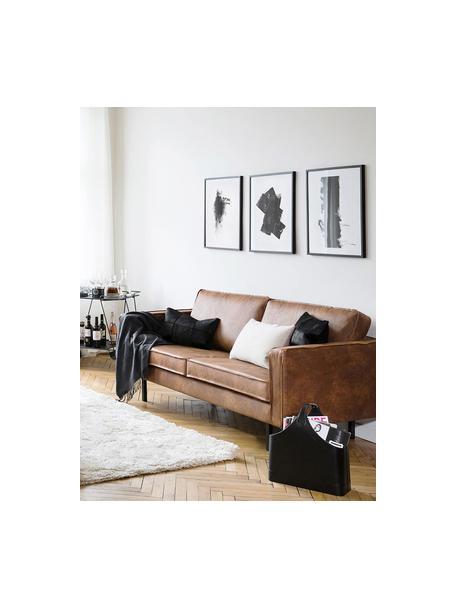 Bank Hunter (3-zits) in bruin van gerecycled leer, Bekleding: gerecycled leer (70% leer, Frame: massief berkenhout en HDF, Poten: gepoedercoat metaal, Leer bruin, B 219 x D 90 cm