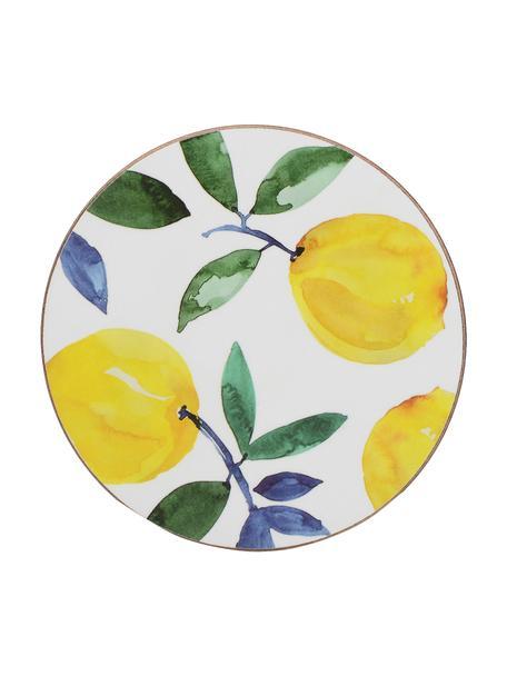 Onderzetter Lemons met citroenmotief, 4 stuks, Kurk, gecoat, Wit, geel, groen, Ø 12 cm