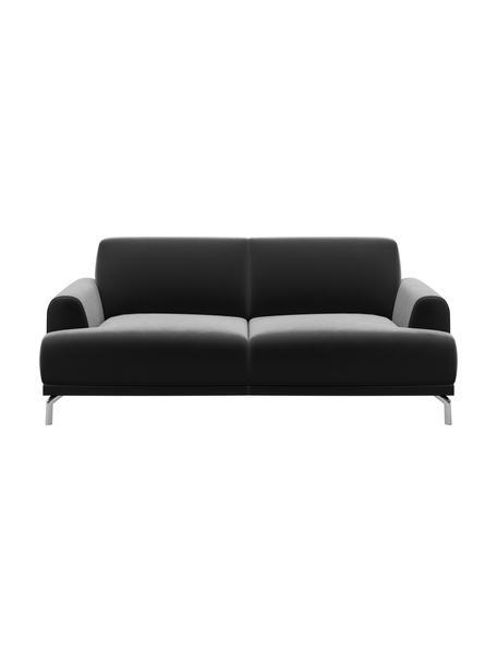 Sofa z aksamitu Puzo (2-osobowa), Tapicerka: 100% aksamit poliestrowy,, Nogi: metal lakierowany, Ciemnyszary, S 170 x G 84 cm
