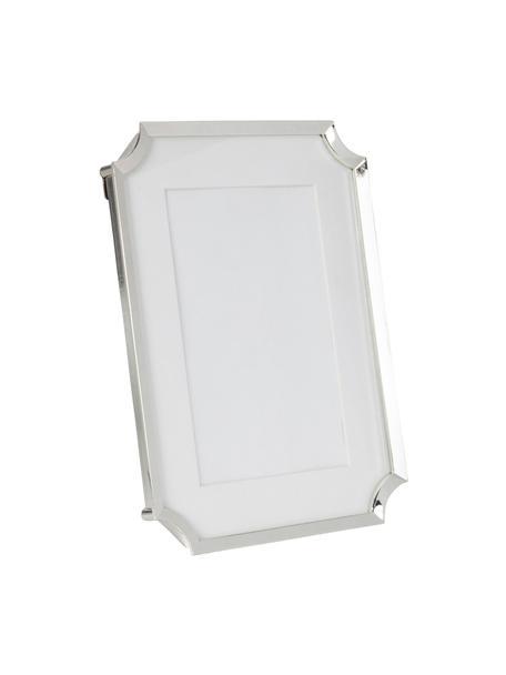 Cornice Austin, Metallo, vetro, Argento, bianco, Larg. 10 x Alt. 15 cm