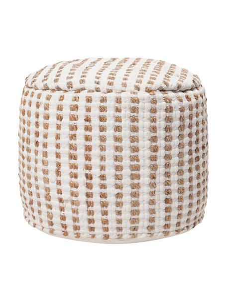 Pouf Fiesta in Beige, Bezug: 55% Chindi-Baumwolle, 45%, Weiß, Beige, Ø 50 x H 40 cm