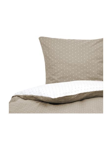Dwustronna pościel z flaneli w kropki Betty, Beżowy, biały, 135 x 200 cm + 1 poduszka 80 x 80 cm