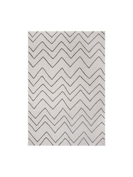 In- & outdoor vloerkleed Waves met zigzagpatroon, 100% polypropyleen, Crèmewit, zwart, B 80 x L 150 cm (maat XS)