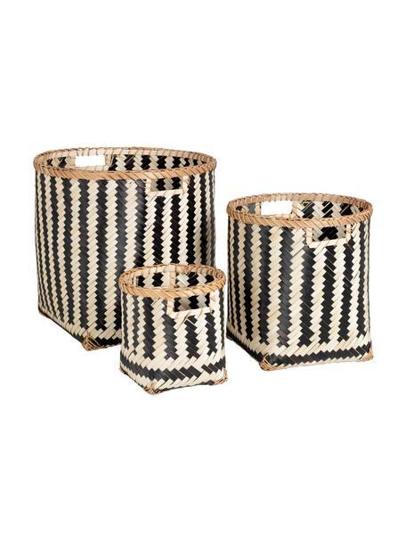 Opbergmandenset Meli, 3-delig, Bamboehout, Beige, zwart, Set met verschillende formaten