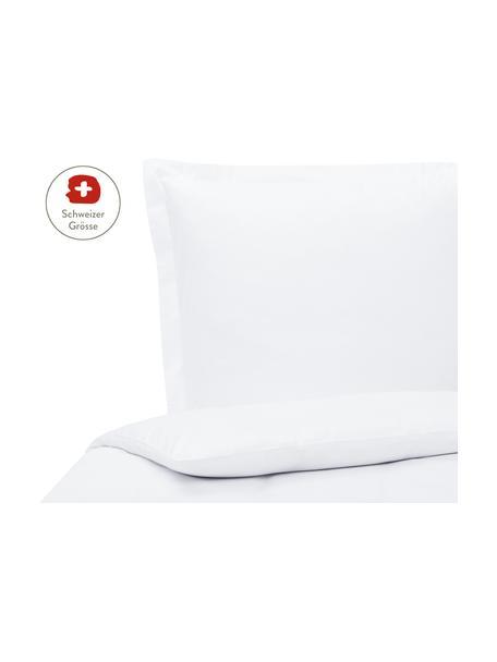 Baumwollsatin-Bettdeckenbezug Premium in Weiss mit Stehsaum, Webart: Satin, leicht glänzend Fa, Weiss, 200 x 210 cm