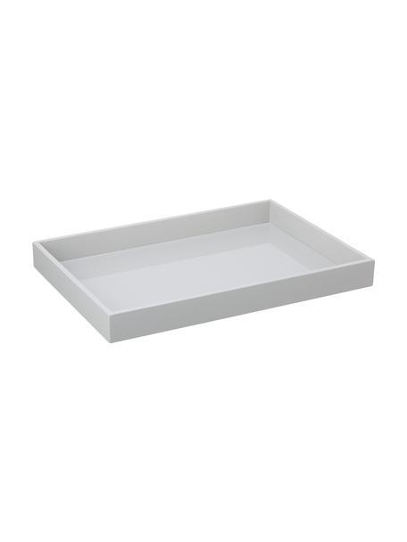 Hochglanz-Tablett Hayley in Grau,L 50 x B 35 cm, Tablett: Mitteldichte Holzfaserpla, Unterseite: Samt, Hellgrau, Unterseite: Hellgrau, 35 x 50 cm