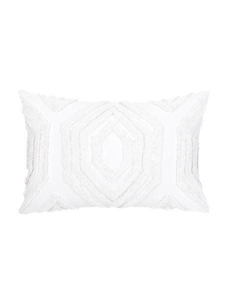Kissenhülle Faye in Weiss mit getuftetem Muster, Webart: Panama, Weiss, 40 x 60 cm
