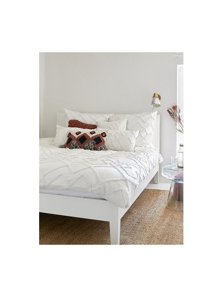 Kussenhoes Faye in wit met getuft patroon, Weeftechniek: panama, Wit, 40 x 60 cm