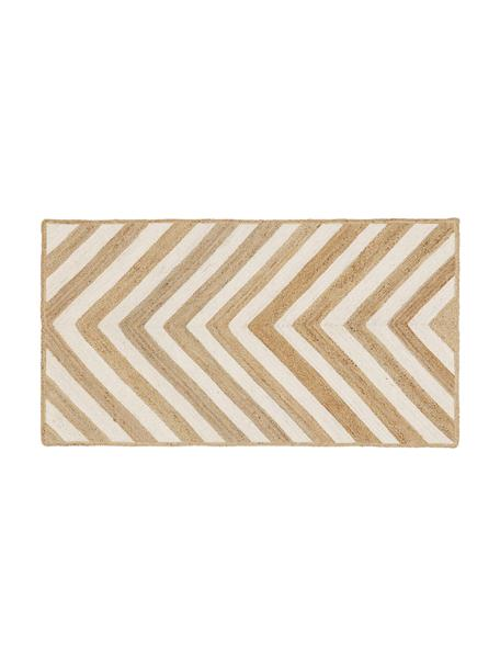 Felpudo artesanal de yute Eckes, 100%yute, Beige, blanco, An 50 x L 80 cm