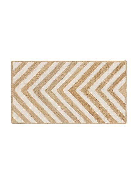 Handgemaakte juten deurmat Eckes, 100% jute, Beige, wit, 50 x 80 cm