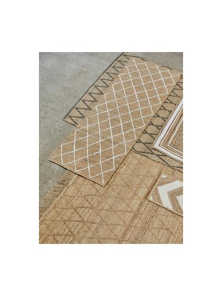 Handgefertigte Jute-Fussmatte Eckes, 100% Jute, Beige, Weiss, 50 x 80 cm