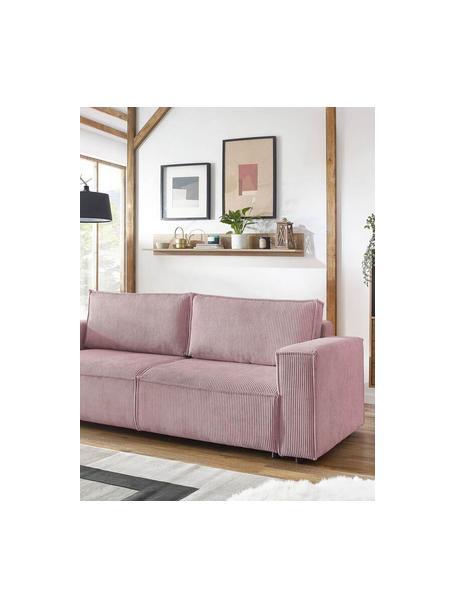 Sofa rozkładana ze sztruksu z miejscem do przechowywania Nihad (3-osobowa), Tapicerka: sztruks, Nogi: drewno naturalne, Lila, S 245 x G 102 cm