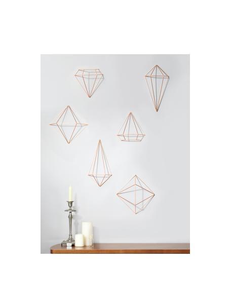 Komplet dekoracji ściennych z metalu lakierowanego Prisma, 6 elem., Metal lakierowany, Odcienie miedzi, Komplet z różnymi rozmiarami