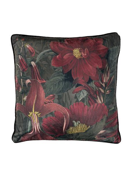 Federa arredo con motivo floreale rosso/verde Merion, Retro: 100% velluto di poliester, Rosso, verde, Larg. 50 x Lung. 50 cm