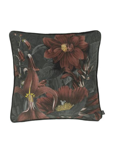 Samt-Kissenhülle Merion mit floralem Print in Rot/Grün, Vorderseite: 100% Polyestersamt, Rückseite: 100% Polyestersamt, Rot, Grün, 50 x 50 cm
