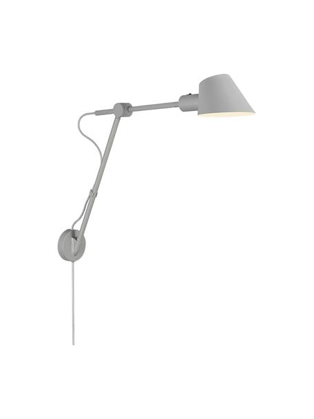 Applique con spina Stay, Paralume: metallo rivestito, Grigio, Larg. 72 x Alt. 55 cm
