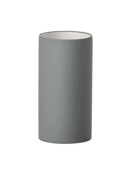 Zahnputzbecher Solo aus Porzellan, Porzellan, Grau, Ø 6 x H 12 cm