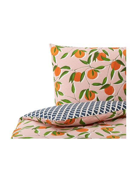 Perkal-Wendebettwäsche Squeeze mit sommerlichem Print aus Bio-Baumwolle, Webart: Perkal, Mehrfarbig, 135 x 200 cm + 1 Kissen 80 x 80 cm