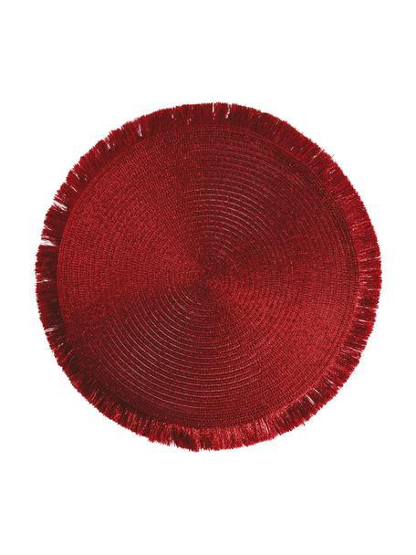 Runde Kunststoff-Tischsets Linda in Rot mit Fransen, 6 Stück, Kunststoff, Rot, Ø 38 cm