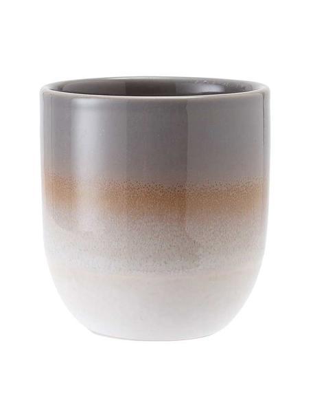 Handgemaakte beker Café met kleurverloop, 4 stuks, Keramiek, Bruin, Ø 8 x H 9 cm