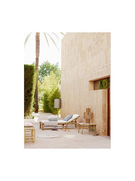 Bambus-Gartenliege Bamboo mit Polsterauflage, Weiß, Braun, 80 x 210 cm