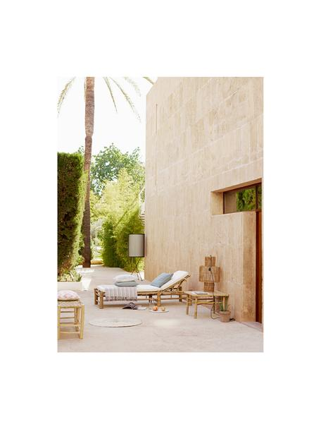 Lettino prendisole in cotone e bambù Bamboo, Rivestimento: 100% cotone, Bianco, marrone, Lung. 80 x Larg. 210 cm