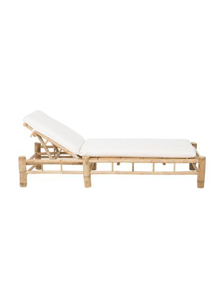 Tumbona de bambú para exterior Bamboo, Estructura: madera de bambú natural, Blanco, marrón, An 80 x L 210 cm