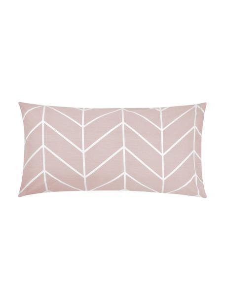 Poszewka na poduszkę z bawełny renforcé Mirja, 2 szt., Brudny różowy, kremowobiały, S 40 x D 80 cm