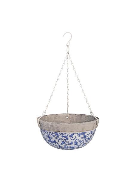 Grosse hängende Pflanzschale Cerino, Blau, Weiss, Ø 26 x H 12 cm