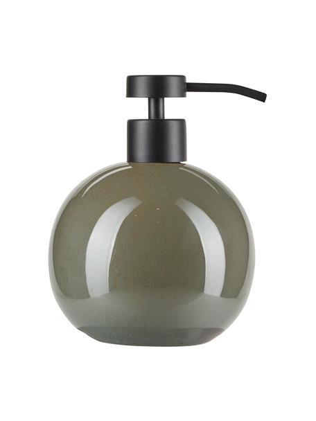 Keramische zeepdispenser Tin in groen, Houder: keramiek, Groen, zwart, Ø 11 x H 16 cm
