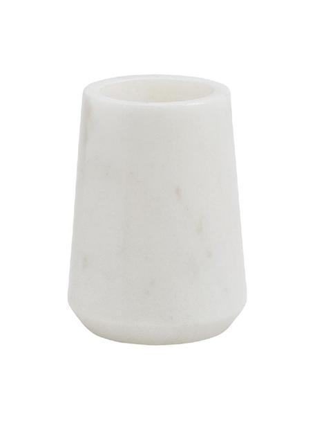 Vaso cepillo de dientes de mármol Lux, Mármol, Blanco, Ø 9 x Al 11 cm