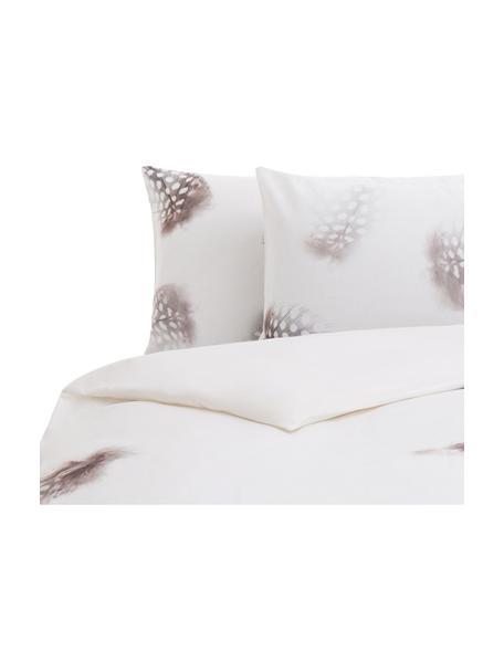 Parure copripiumino reversibile in cotone Light, Cotone, Bianco, marrone, grigio, 220 x 240 cm