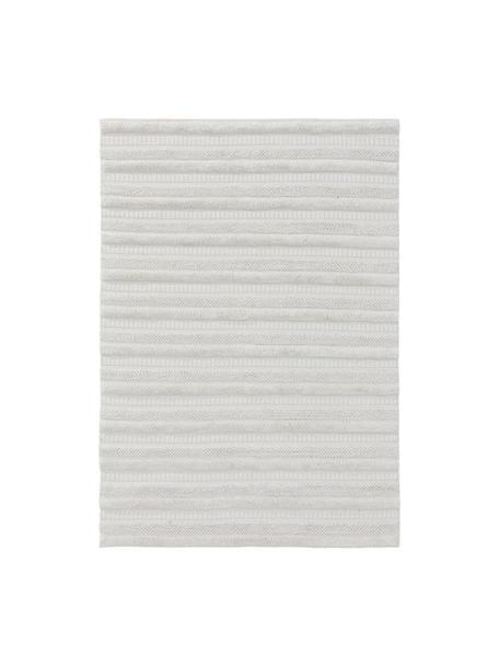 In- & outdoor vloerkleed Toni met hoog-laag structuur, 100% polyester (gerecycled PET), Ivoorkleurig, B 80 x L 150 cm (maat XS)