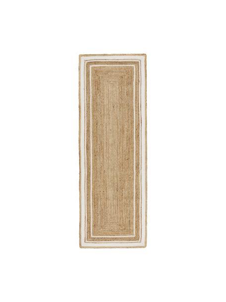 Alfombra artesanal de yute Clover, 100%yute, Beige, blanco, An 80 x L 250 cm