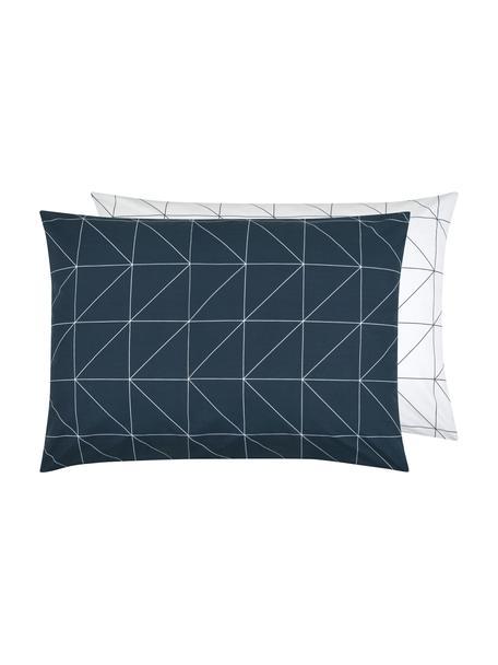 Funda de almohada de algodón Marla, 50x70cm, Azul marino, blanco crema, An 50 x L 70 cm