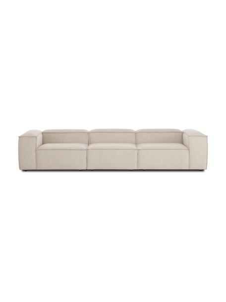 Modulares Sofa Lennon (4-Sitzer) in Beige aus Cord, Bezug: Cord (92% Polyester, 8% P, Gestell: Massives Kiefernholz, Spe, Füße: Kunststoff Die Füße befin, Cord Beige, B 327 x T 119 cm
